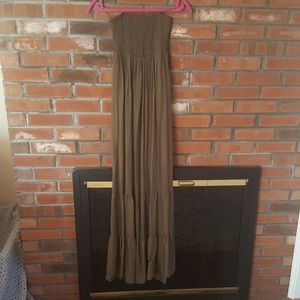 Guess Olive Green Smocked Strapless Maxi Dress